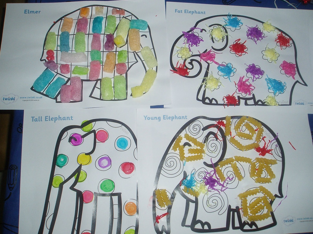 Elmer and ballerina collages   ofamily learning together