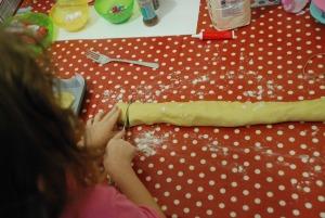 cookie dough cutting