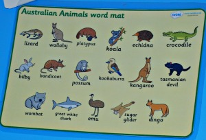 Australian animal word mat
