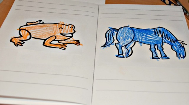Creating our own version of the Brown Bear Brown Bear book as a way of encouraging the kids to practice writing