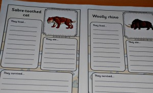 prehistoric animal writing pages 2