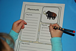 prehistoric animal writing pages