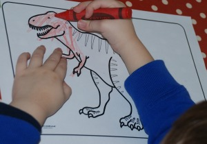 T rex colouring page