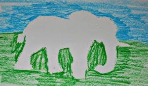African stencil art elephant
