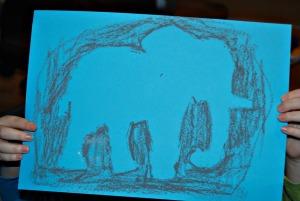 African stencils blue elephant