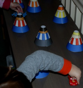 cone people racing cars
