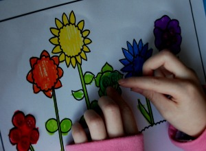 flowers colouring in page with buttons