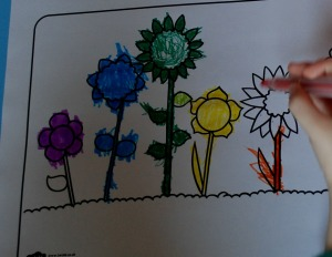flowers colouring in page