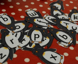 penguins with letters on