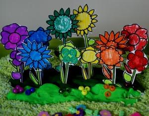 planting a rainbow playdough garden