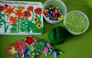 planting a rainbow playdough idea