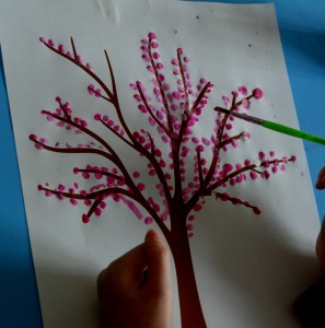 spring tree with paint brush