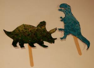 dinosaur stick puppets decopatch paper