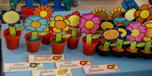 flower shop with playdough and cut out flowers