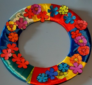 ribbon and flower wreath completed