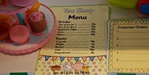 tea shop menu and order form close up