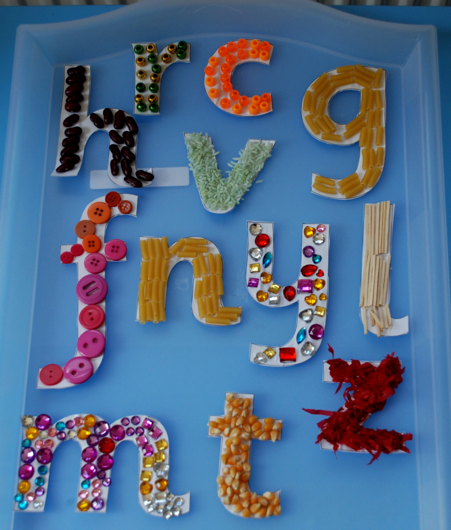 Making our own mosaic letters | ofamily learning together