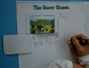 The snow queen writing the flap book