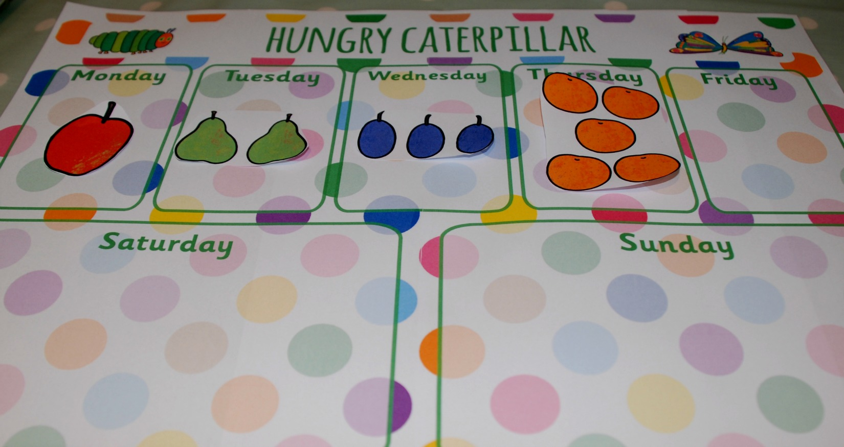 The very hungry caterpillar sorting activity