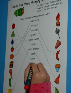 The very hungry caterpillar word matching