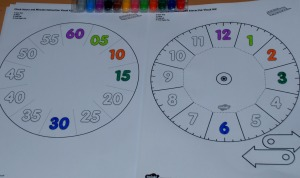 clock visual aid showing 5 mins