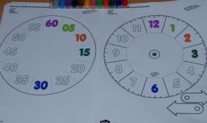 clock visual aid showing 5 mins