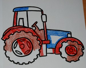 encouraging kids to colour in - partially coloured in tractor picture