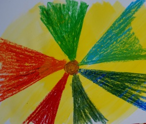 Kids art idea - oil pastel drawing with water colours painted over the top