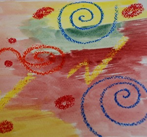 oil pastel picture with water colours