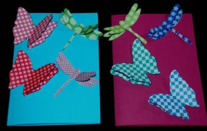 3D dragonfly and 3D butterfly cards found on ofamilyblog