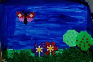 Hama bead garden scene