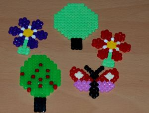 Hama bead ideas for a garden scene