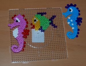 Hama bead seahorses and fish found on ofamilyblog