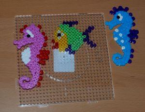 Hama bead seahorses and fish found on ofamilyblog