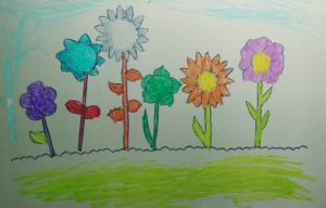 Laimating sleave flower scene picture traced from colouring page found on the Twinkl website idea found on ofamilyblog
