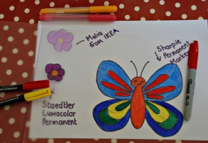 Laminating sleave art activity different pens that we tried