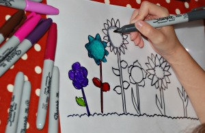 Laminating sleave making a flower scene picture found on ofamilyblog