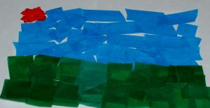 Making the tissue paper background for the 3D  dragonfly picture