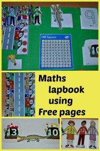 Maths Lapbook using free pages includes greater than and less than, odd and even numbers, British coins, number tracing, 100 square