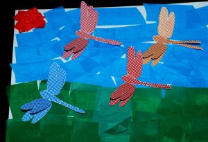 Tissue paper and 3D dragonfly picture using the template from Twinkl
