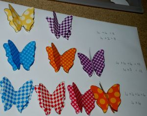 using the 3D butterflies from Twinkl to intoduce the 4x table