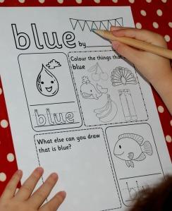 activity village blue colour page