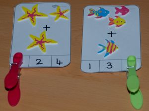 Adding one number peg cards made with foam stickers found ofamilyblog