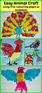 Easy animal craft activity for children.  Made using free to download colouring pages as the basic templates