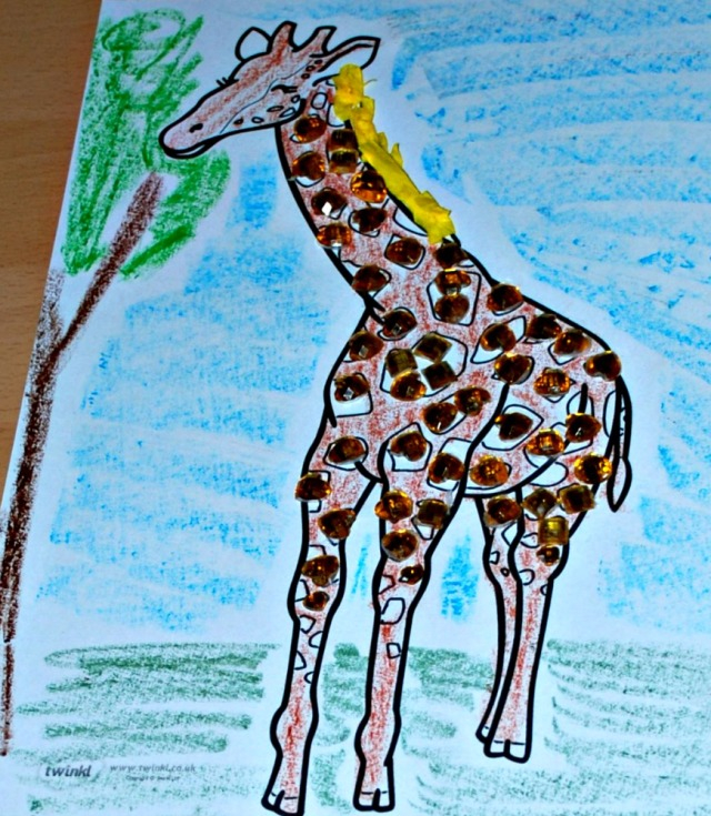 Animal collage a giraffe, easy activity for children to do at home using a free to download colouring page