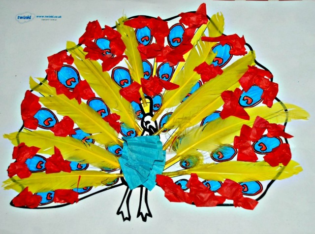 Animal collage craft,a peacock, easy for young kids to do at home and you can use art supplies that you have