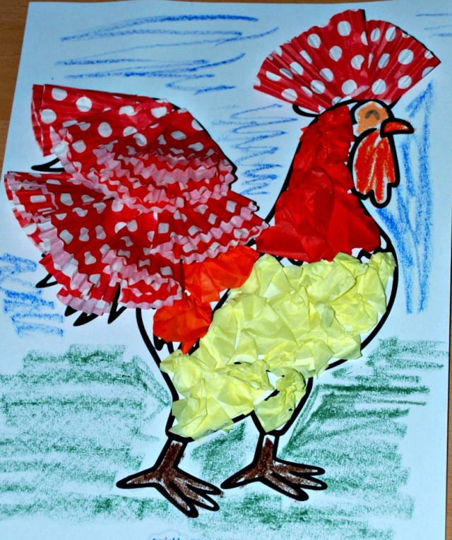 Animal craft activity, a Rooster mad using tissue paper and cupcake cases with a free to download colouring page from Twinkl