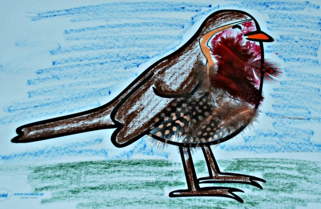 Easy animal collage a robin, made using a free to download animal colouring page as a template