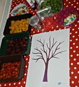 Autumn tree craft idea - coloured pasta, buttons, gems and a tree template found ofamilyblog