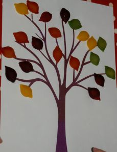 Autumn tree using dyed pasta shells ofamilyblog